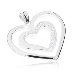 Rhodiovaný přívěsek ze stříbra 925, dva srdcovité obrysy, čiré zirkonky