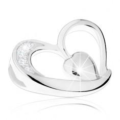 Stříbrný 925 přívěsek, nepravidelná kontura srdce, malé vypouklé srdíčko