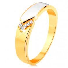 Prsten ze žlutého 14K zlata - lesklý pás bílé glazury, čiré zirkonky