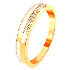 Prsten ve žlutém 14K zlatě - úzké linie z čirých zirkonků a bílé glazury