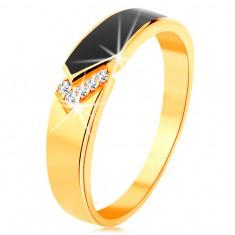 Prsten ze žlutého 14K zlata - černý glazovaný pás se špičkou, čiré zirkonky