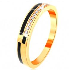Prsten ve žlutém 14K zlatě - pásy z černé glazury, linie zirkonků čiré barvy