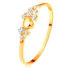 Prsten ve žlutém 14K zlatě - drobné čiré zirkony a lesklé vypouklé srdíčko