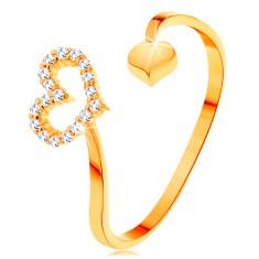 Zlatý prsten 585 - zvlněná ramena ukončená obrysem srdce a plným srdíčkem