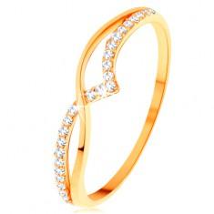 Prsten ze žlutého 14K zlata - hladká a třpytivá vlnka z čirých zirkonků