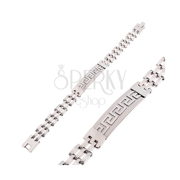 Náramek z chirurgické oceli stříbrné barvy, matná známka s řeckým klíčem