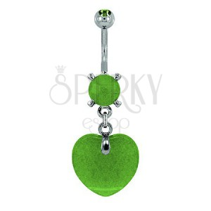 Piercing do pupíku - srdce přírodní kámen světle zelená