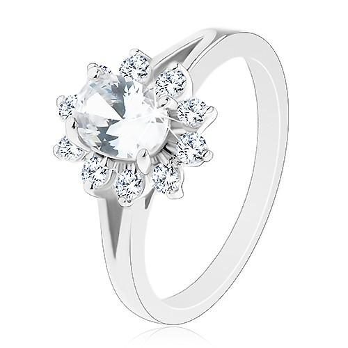 Levně Lesklý prsten ve stříbrném odstínu, zirkonový oválný kvítek čiré barvy - Velikost: 54