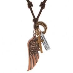 Nastavitelný kožený náhrdelník, přívěsky - andělské křídlo, kruhy, kříž a známka