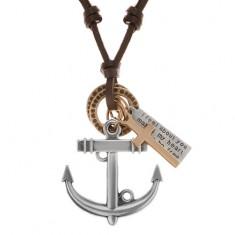 Kožený náhrdelník hnědé barvy, přívěsky - kotva, kříž, známka a kruhy