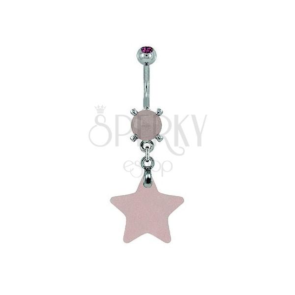 Piercing do pupíku - hvězda přírodní kámen světle růžová