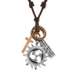 Nastavitelný kožený náhrdelník, přívěsky - kruh tribal, kruhy, kříž a známka