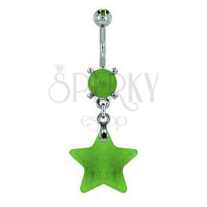 Piercing do pupíku - hvězda přírodní kámen světle zelená