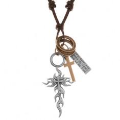 Náhrdelník - šňůrka z umělé kůže, velký a malý kříž, známka, kruhy