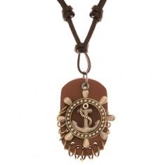 Nastavitelný kožený náhrdelník - kormidlo s kotvou, pás kůže
