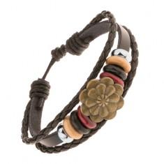 Náramek ze tří pásů umělé kůže, ocelové a dřevěné korálky, velký květ Y43.16