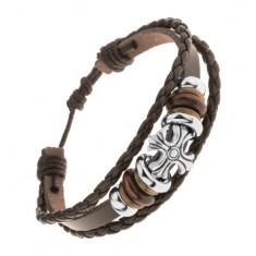 Náramek ze tří pásů umělé kůže, ocelové a dřevěné korálky, liliový kříž Y43.20