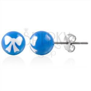 Ocelové náušnice kuličky s pentličkou modré
