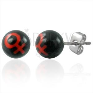 Malé náušnice z oceli kuličky - symbol ŽENA