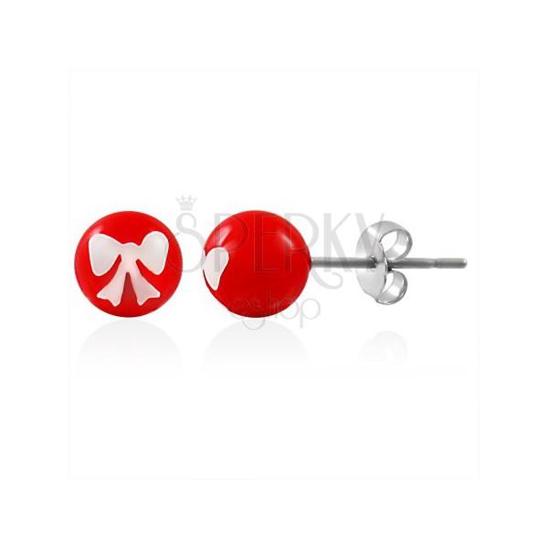 Ocelové náušnice, červená kulička s bílou mašličkou, puzetové zapínání