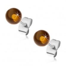 Puzetové ocelové náušnice, poloprůhledné žlutohnědé kuličky, 6 mm