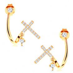 Zlaté náušnice 585 - lesklá zahnutá linie, třpytivý křížek a čiré zirkony