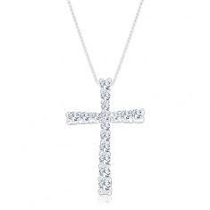 Stříbrný 925 náhrdelník, řetízek s přívěskem, latinský kříž zdobený zirkony