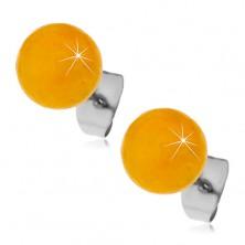 Ocelové puzetové náušnice, žlutooranžové kuličky, 8 mm
