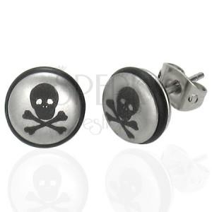 Ocelové náušnice stříbrné barvy, kulička s lebkou a černou gumičkou