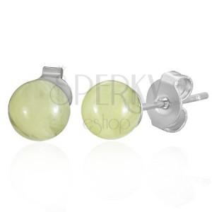 Ocelové náušnice jantarové kuličky žluté 6 mm