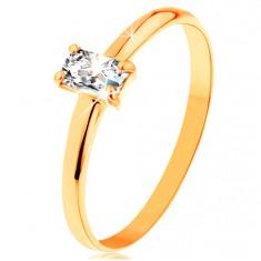Prsten ze žlutého zlata 585 - vystupující zirkonový obdélník, hladká ramena