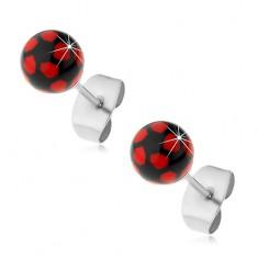Ocelové náušnice, černo-červené kuličky, puzetové zapínání AB27.14