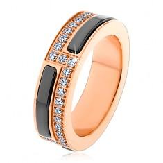 Prsten z chirurigické oceli měděné barvy, pásy z černé keramiky a zirkonů