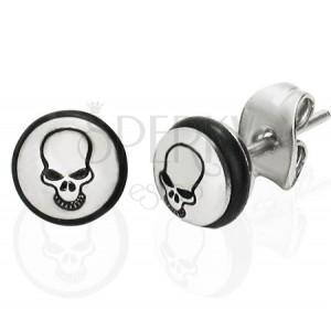Ocelové náušnice - kruh s černou lebkou a gumičkou