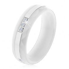 Prsten z bílé keramiky s broušeným povrchem, tenký ocelový pás, zirkony