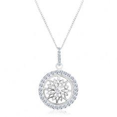 Stříbrný náhrdelník 925, řetízek a přívěsek, třpytivý kruh s ornamentem R45.3