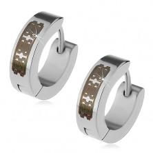Ocelové náušnice stříbrné barvy - kroužky s černým vzorem, kloubové