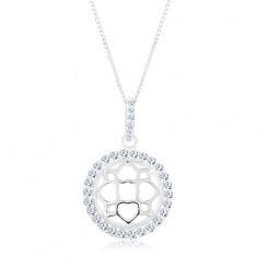 Stříbrný 925 náhrdelník, řetízek a přívěsek, třpytivý kruh, vypouklý ornament R45.15