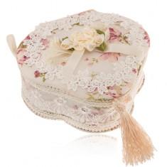 Šperkovnice trojlístek - béžová s květinovým potiskem, krajkou a střapcem