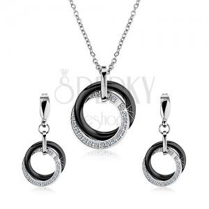 762059e6d Set náhrdelníku a náušnic z oceli 316L, propojené ocelové a keramické kruhy