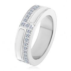 Ocelový prsten stříbrné barvy, pásy z bílé keramiky a z čirých zirkonů