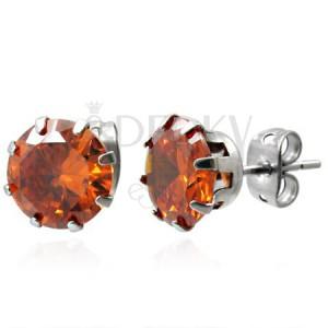 Ocelové náušnice s oranžovým kamenem 8 mm