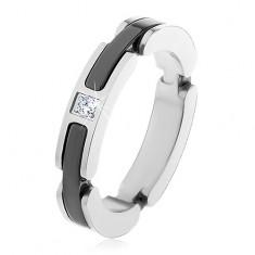 Ocelový prsten stříbrné barvy, výřezy s keramickými pásy, čirý zirkon