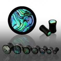 Sedlový plug z černého organického materiálu, kruh z mušle Abalone