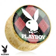 Plug do ucha z bambusového dřeva, zajíček Playboy na károvaném podkladu