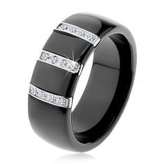Černý keramický prsten s hladkým povrchem, tři ocelové pásy se zirkony