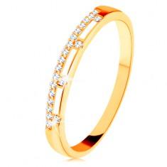 Prsten ze žlutého 14K zlata - čirá zirkonová linie, pásy bílé glazury
