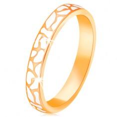 Prsten ze žlutého 14K zlata - nepravidelné skvrny z bílé glazury