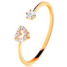 Prsten ve žlutém zlatě 585 - lesklá ramena ukončená obrysem srdce a čirým zirkonem
