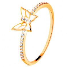 Prsten ze žlutého 14K zlata - třpytivé linie, bílý glazovaný motýl